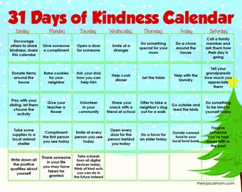 31 Days of Kindness Calendar - Christmas
