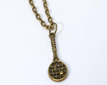 "18"" Bronze Small Tennis Racket Necklace"