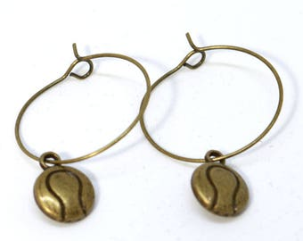 Bronze Hoop Earring with Tennis Ball Charm