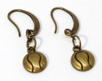 Bronze Hook Earring with Tennis Ball Charm
