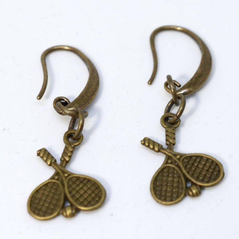 Bronze Hook Earring with Duel Tennis Racket Charm image 0