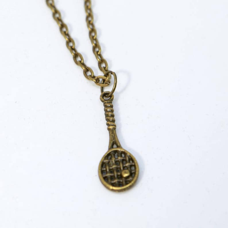 18 Bronze Small Tennis Racket Necklace image 0