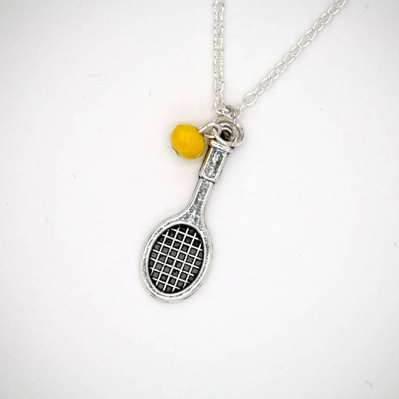18 Silver Necklace with silver tennis racket charm and image 0