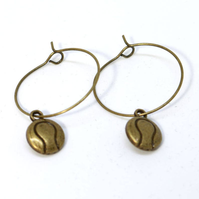 Bronze Hoop Earring with Tennis Ball Charm image 0