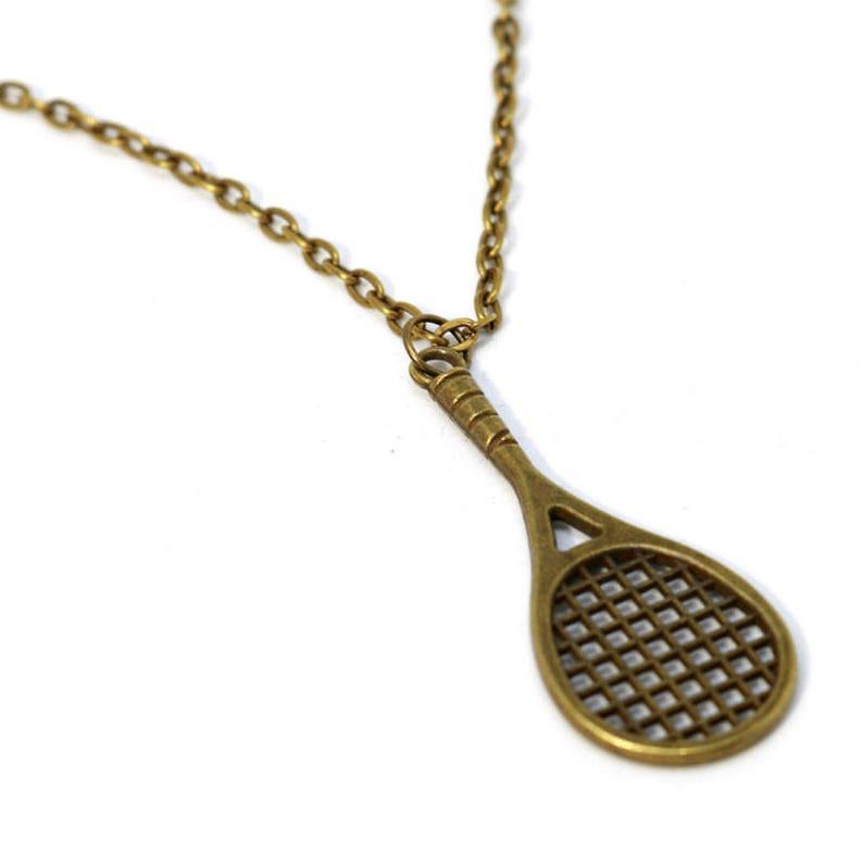18 Bronze Large Tennis Racket Necklace image 0