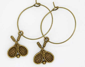 Bronze Double Tennis Earrings - Large Hoops