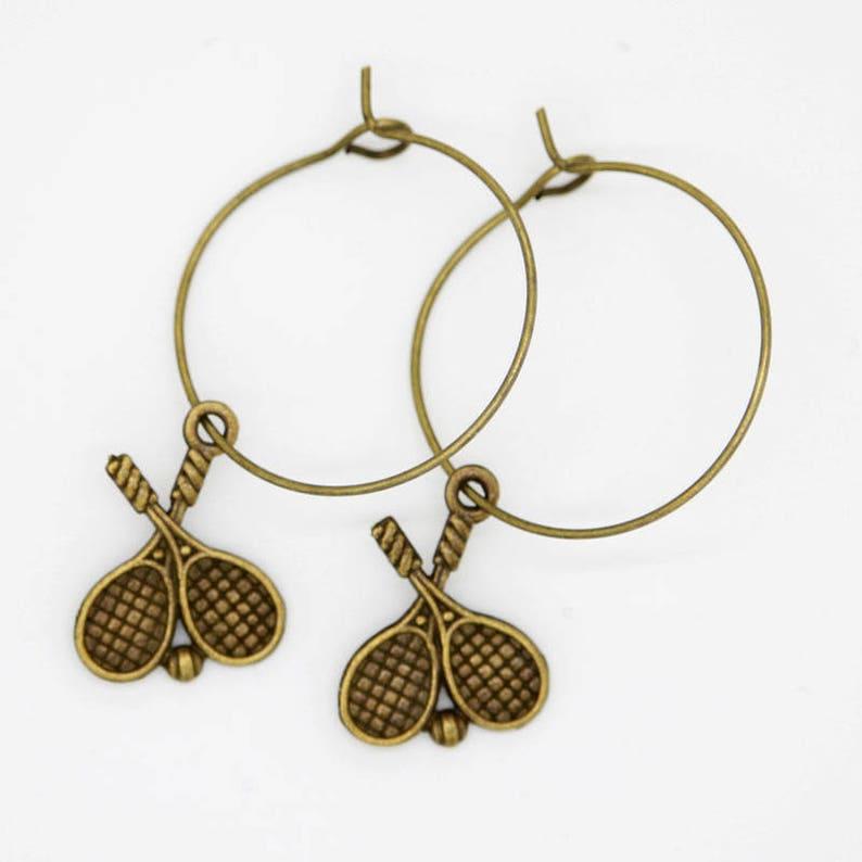 Bronze Double Tennis Earrings  Large Hoops image 0