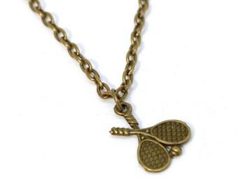 """18"""" Bronze Duel Tennis Racket Necklace"""