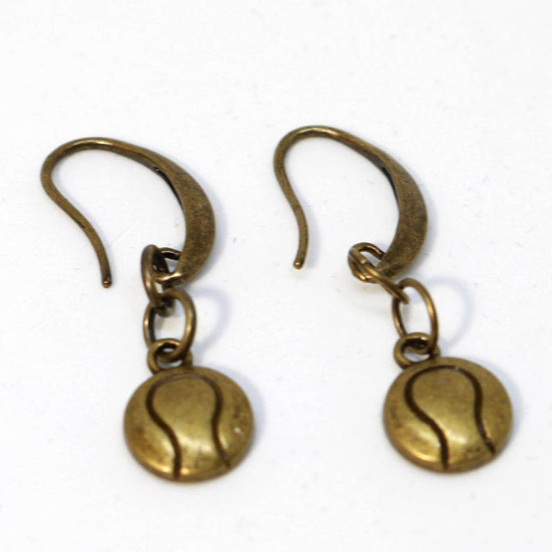 Bronze Hook Earring with Tennis Ball Charm image 0