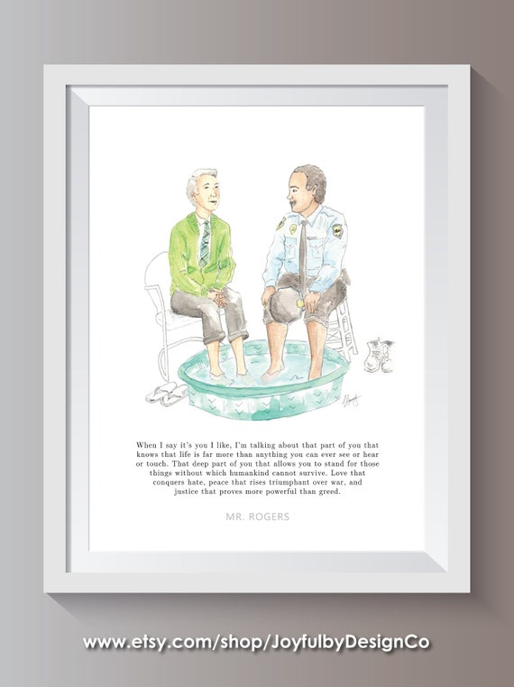 Mr Rogers In Watercolor Hand Painted Print Of Original Etsy