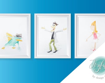Phineas and Ferb in Watercolor, Prints of Original Paintings