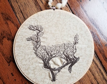Branching Deer 7 inch embroidered wall decor