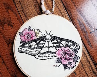 Roses Moth Butterfly 7 inch embroidered wall decor