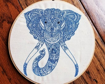 Henna Elephant 7 inch embroidered wall decor