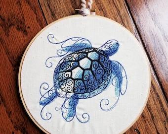 Sea Turtle 7 inch embroidered wall decor