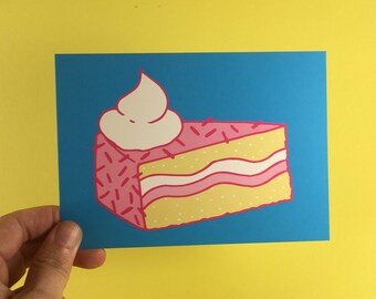 Cake postcard - A6 - congratulations - birthday - party - birthday - birthday card