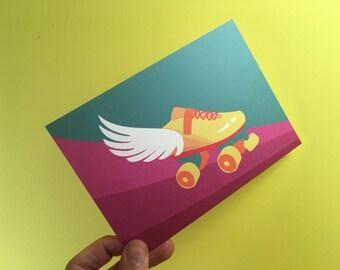 Roller derby wings postcard - A6 - roller skates - skate - derbylove