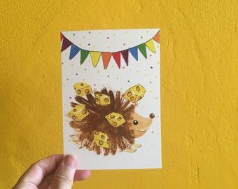 Party animal Hedgehog - postcard - A6 - Postcard - Partyanimal - birthday - birthday card - Handmade illustration