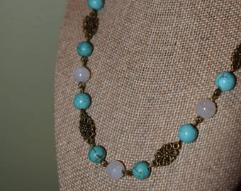 Turquoise, White, and Antique Brass Necklace