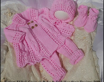 """Lacy Double breasted coat set 16-22"""" doll/prem-3m+ baby"""