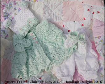 "Knitting Pattern Lacy Spring Pram Suit 16-22"" doll/prem-3m+ baby"