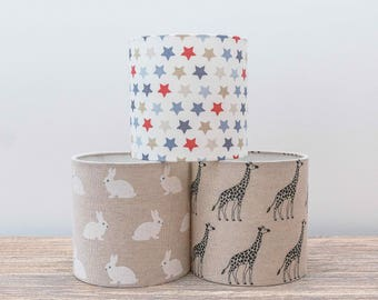 Giraffe fabric drum lampshade. 15cm. Bedside Table, Nursery, Children's Bedroom, Animals, Home Decor