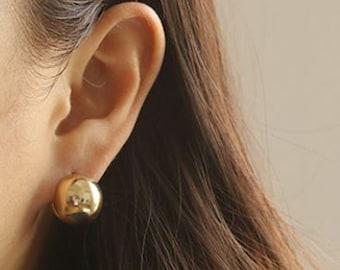 Jumbo 8mm large gold stud earrings gold ball earrings Gold Earrings Matte Gold Stud Earrings gold post earrings