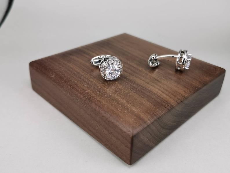 wedding cufflink round cufflink diamond cufflink bestmen cufflink silver cufflinks groom cufflink Large CZ cufflink wedding cufflink