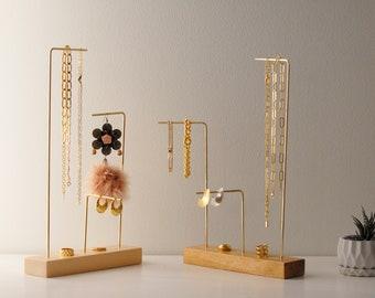 Slim asymmetrical brass necklace stand, walnut, pine, maple jewelry stand, Jewelry holder organizer, minimalist home decor, jewelry storage