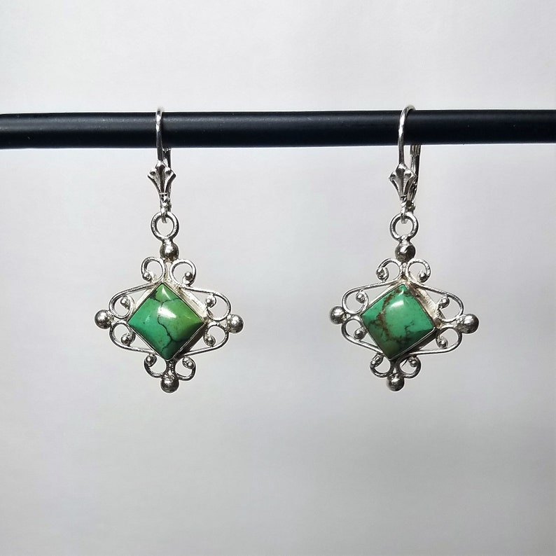Sterling silver genuine square cut Truquoise fancy lever back earrings