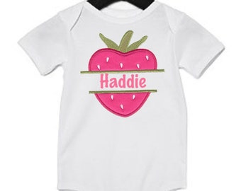 Custom embroidered strawberry top