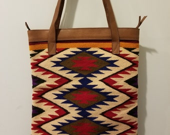 Southwestern Style Unique Native Pattern Colorful Hand Woven Wool and  Leather Shoulder Tote Bag 2669ec2388