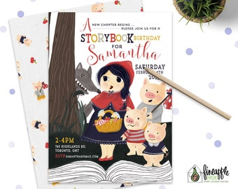 Storybook birthday Party Invitation Girl little red riding hood three little pigs fairy tale red navy invitations Diy custom printable