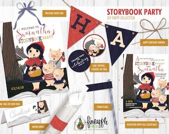 Storybook Birthday Party Invite Decor Girl Invitation Custom DIY Digital Download fairy tale three little pigs red blue yellow