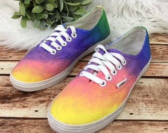7bc097a424 Vans Women s Custom Hand Painted Art Colorful Ombre Festival Pastel Canvas  Unique Vibrant Purple Blue Rainbow Sneakers Shoes Size US 5.5