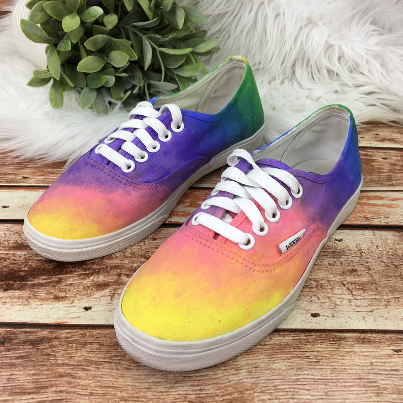 c9ce357cdf Vans Women s Custom Hand Painted Art Colorful Ombre