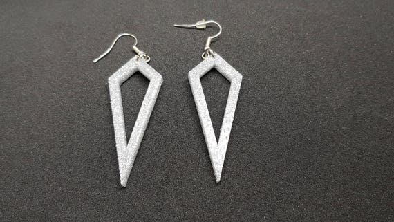 3d Printed Unique Diamond Earrings Etsy