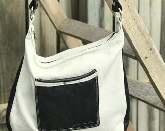 Black & White Leather shoulder purse