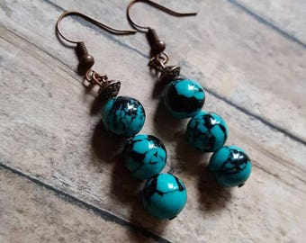 Dangle earrings~ Boho~ earrings~ drop earrings~ turquoise earrings~ bronze earrings ~ earthy earrings