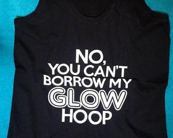 GLOW in the DARK print Tank top LED Glow hoop Black Hula hooper