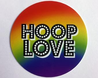 Hoop Love vinyl sticker. LGBTQ pride
