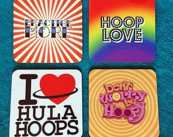 Set of 4 CIRCUS coasters Hula Hoop themed