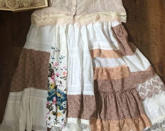 Patchwork with Lace Skirt. Vintage, Shabby Chic Mori Girl Skirt. (size Medium/Large) Hand made by Seashellanna