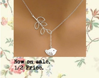 Bird with Leaf Necklace. Antique Silver.