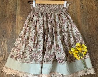 a3a8085106b Kawaii Japanese Patchwork Mori Girl Skirt in Autumn Forest Colour