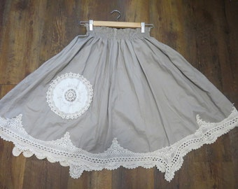 8954f98ba05 Mori Girl Doily Skirt with Vintage Tablecloth Trim. Color Tortilla or  Mushroom. One Size Fits All