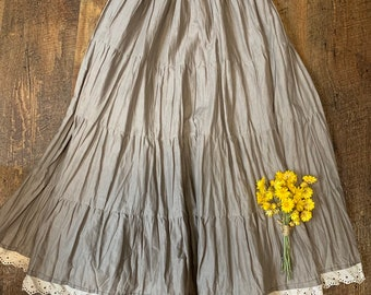 29f8e224489 Mori Girl Fawn Brown Skirt with Lace