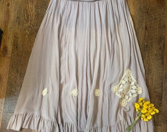 91bead7fdf0 Long Mori Girl Brown Skirt with Doilies.