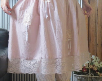 ON SALE Blush Pink Mori Girl Skirt with White Ribbons. (size medum - large) Hand made by Seashellanna.