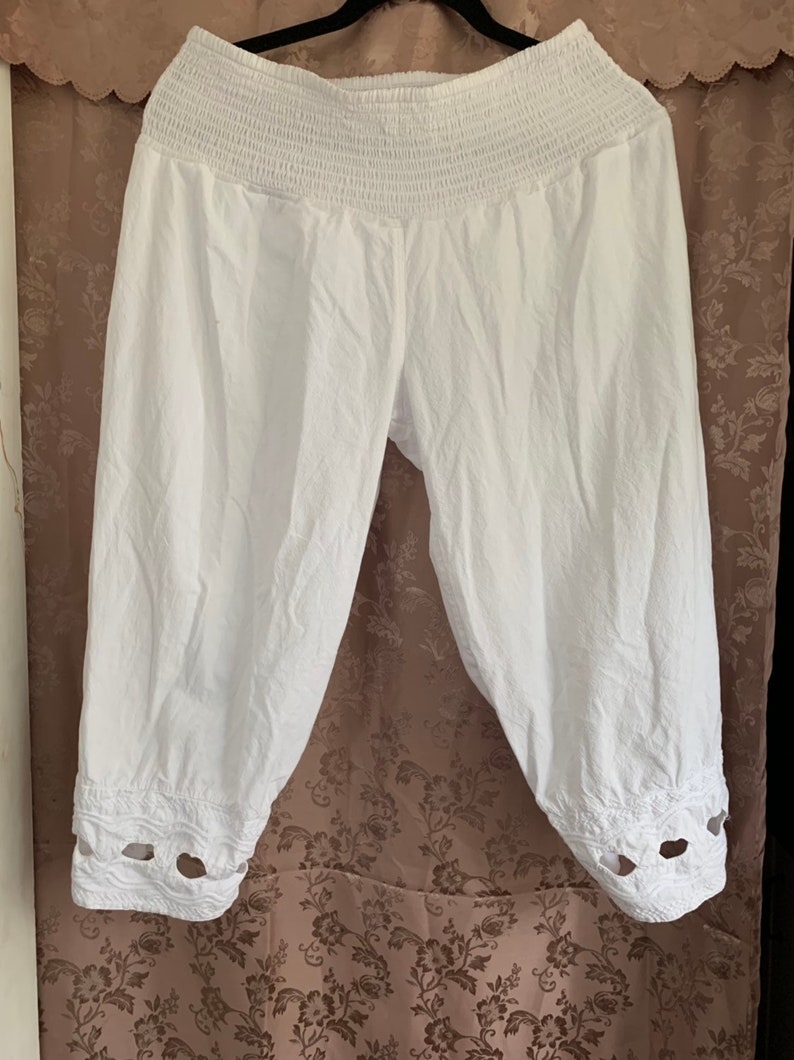 White Upcycled Bloomers made from Cotton. Bloomers